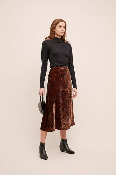 Just Female Aladi Leopard-Print Velvet Skirt in Brown Motif / winter midi skirts
