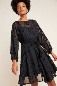 Mare Mare Amal Textured Mini Dress in black ~ fit and flare party dresses