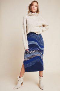 Anthropologie Lavinia Knitted Pencil Skirt ~ side split skirts