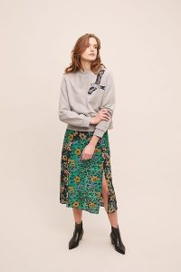 Anthropologie x JRF Safia Mixed-Print Skirt Green Motif