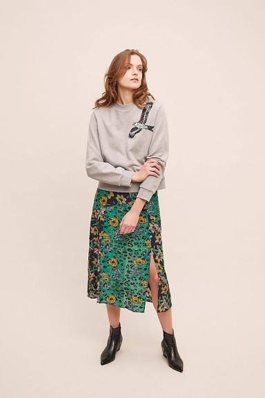 Anthropologie x JRF Safia Mixed-Print Skirt Green Motif