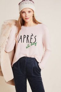 Anthropologie Apres All Day Cashmere Jumper | luxe slogan knits