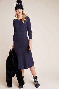 Anthropologie Selena Shimmer Midi Jumper Dress in Navy | blue sweater dresses
