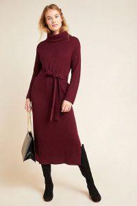 Anthropologie Carlotta Turtleneck Jumper Dress in Plum | roll neck sweater dresses
