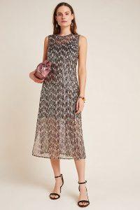 Corey Lynn Calter Sequinned Swing Maxi Dress in Black Motif ~ sleeveless semi sheer party dresses