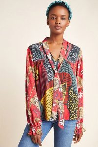 Conditions Apply Analia Tie-Neck Blouse in Black Motif ~ multi-print blouses
