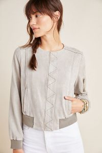 Marrakech Bibiana Bomber Jacket in Silver | collarless jackets