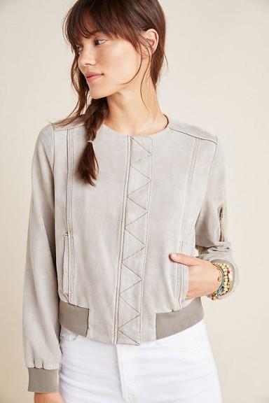 Marrakech Bibiana Bomber Jacket in Silver | collarless jackets