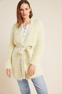 Anthropologie Larkin Shimmer Cardigan in CHARTREUSE | luxe style cardigans