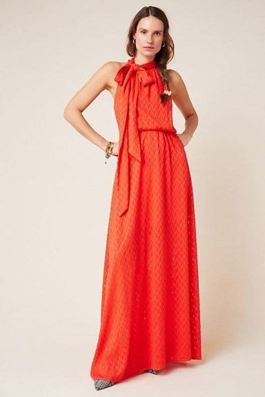Sachin & Babi Cecelia Tie-Neck Maxi Dress in Red – long occasion dresses - flipped