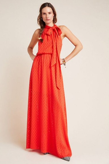 Sachin & Babi Cecelia Tie-Neck Maxi Dress in Red – long occasion dresses