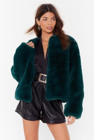 NASTY GAL Baby It's Cold Outside Faux Fur Cropped Coat in green - flipped