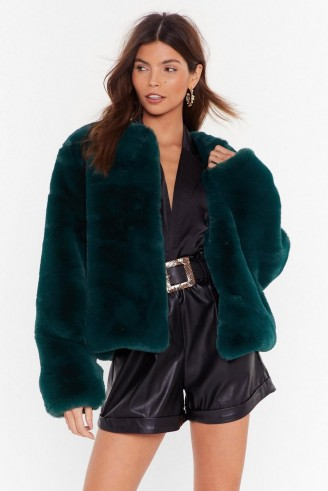 NASTY GAL Baby It's Cold Outside Faux Fur Cropped Coat in green