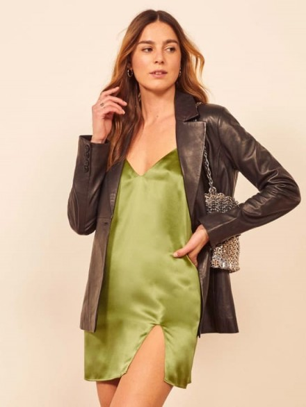 Reformation Ballard Dress in Avocado | short green slip dresses