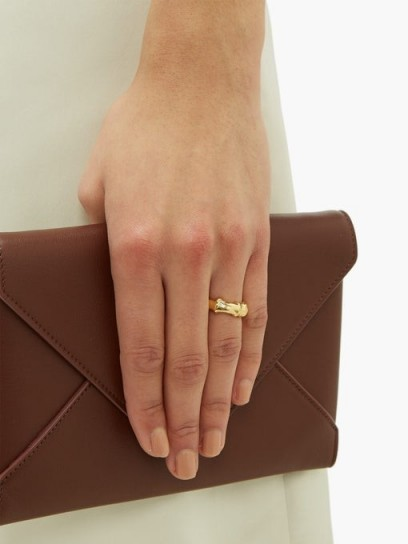 BOTTEGA VENETA Bamboo gold-plated silver ring ~ understated jewellery