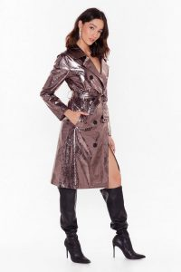 NASTY GAL Be Shine Metallic Trench Coat in Pewter. SHINY MACS