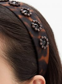 ERDEM Bead-embellished leopard-print headband ~ brown headbands