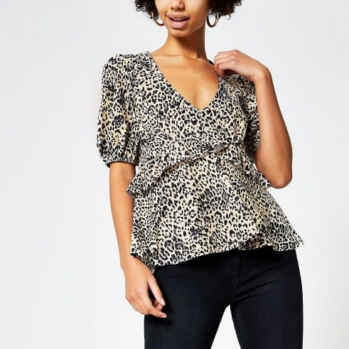 RIVER ISLAND Beige animal printed frill V neck top - flipped