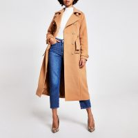 River Island Beige double breasted belted trench coat