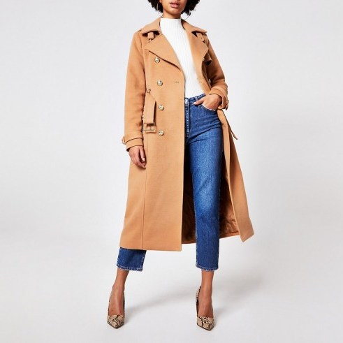 River Island Beige double breasted belted trench coat - flipped