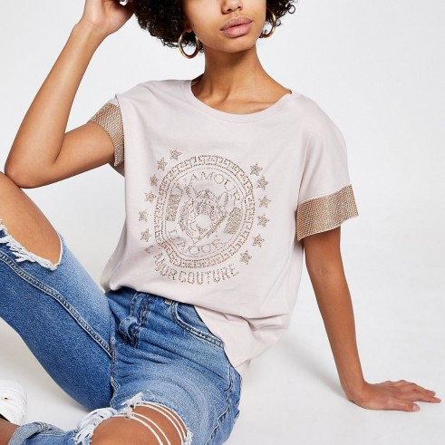 RIVER ISLAND Beige embellished sleeve T-shirt / casual luxe tee