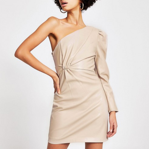 RIVER ISLAND Beige faux leather one shoulder mini dress