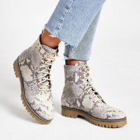 RIVER ISLAND Beige leather snake print lace-up boots