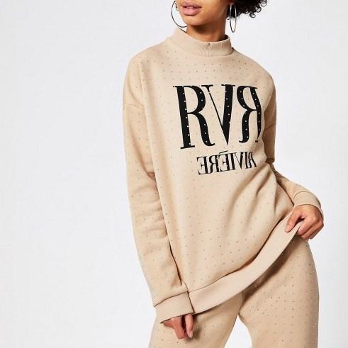 RIVER ISLAND Beige RVR diamante embellished sweatshirt / sports luxe fashion - flipped