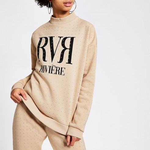 RIVER ISLAND Beige RVR diamante embellished sweatshirt / sports luxe fashion