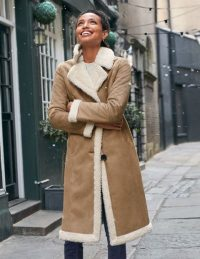 Boden Bell Teddy Lined Coat in Natural ~ faux shearling / suede winter coats