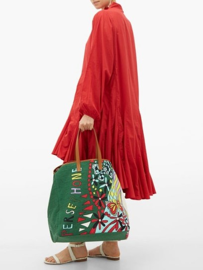 LA DOUBLEJ Big Mama Persephone canvas and leather tote bag in green / printed handbags