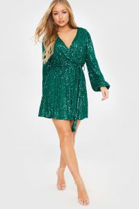 BILLIE FAIERS GREEN SEQUIN WRAP BALLOON SLEEVE DRESS / sparkling party dresses