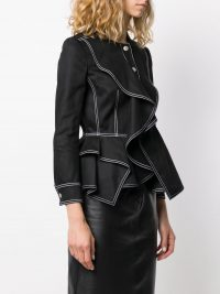 ALEXANDER MCQUEEN ruffled fitted jacket in black ~ designer jackets