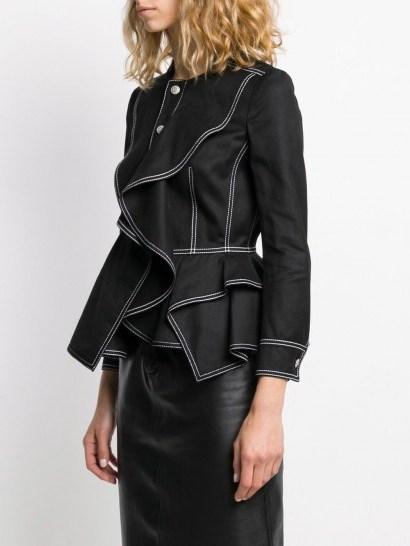 ALEXANDER MCQUEEN ruffled fitted jacket in black ~ designer jackets - flipped