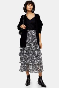 TOPSHOP Black And White Floral Tiered Midi Skirt / monochrome skirts