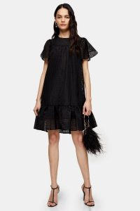 Topshop Black Check Organza Mini Dress | angel sleeve occasion dresses