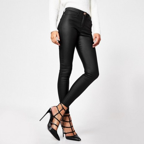 River Island Black coated Molly mid rise jeggings - flipped