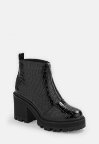 MISSGUIDED black croc texture chunky heeled ankle boots