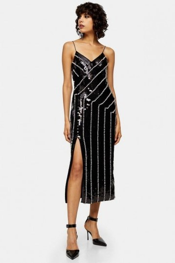 Topshop Black Diamante Embroidered Midi Dress | embellished party dresses | occasion wear - flipped