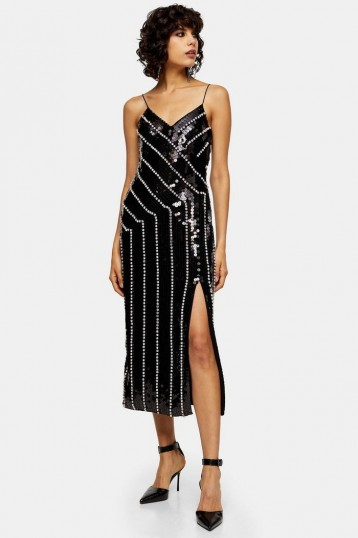 Topshop Black Diamante Embroidered Midi Dress | embellished party dresses | occasion wear
