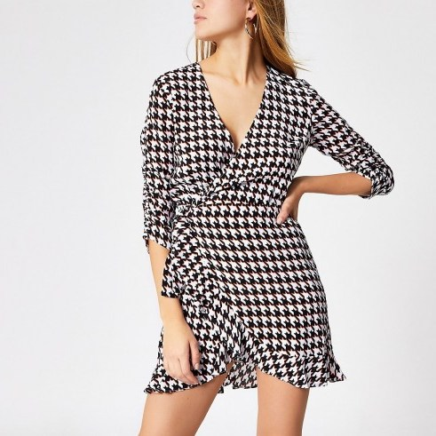 RIVER ISLAND Black dogtooth check wrap playsuit - flipped