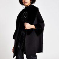 RIVER ISLAND Black faux fur trim cape swing coat / chic vintage look coats