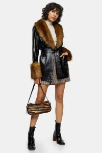 Topshop Black Faux Fur Trimmed PU Coat
