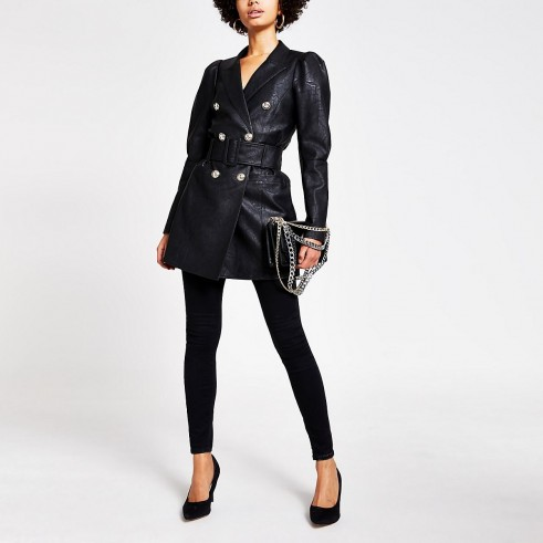 River Island Black faux leather puff sleeve belted blazer   going out jackets
