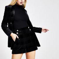 RIVER ISLAND Black glitter check velvet high waist shorts