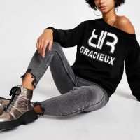 RIVER ISLAND Black 'Gracieux' diamante sweatshirt / slogan sweat top