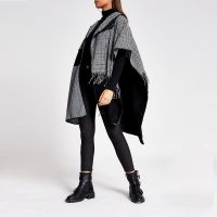 RIVER ISLAND Black houndstooth check patchwork cape / checked capes