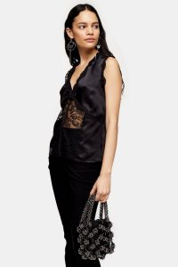 Topshop Black Lace Panel Sleeveless Blouse | vintage style evening top