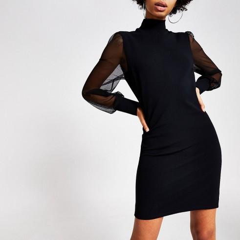 RIVER ISLAND Black long mesh sleeve high neck mini dress – lbd – sheer sleeved evening dresses