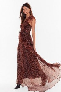 Nasty Gal Black Magic Woman Leopard Maxi Dress in Brown | floaty occasion dresses